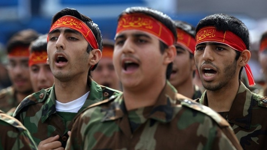 Iranian soldiers march past Iranian President Mahmoud Ahmadinejad during the annual army day military parade on April 17, 2008  in Tehran, Iran.