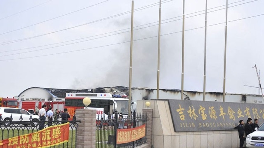 June 3, 2013: The accident site after a fire occurred at the Jilin Baoyuanfeng Poultry Company in Mishazi Township of Dehui City, northeast China's Jilin Province.