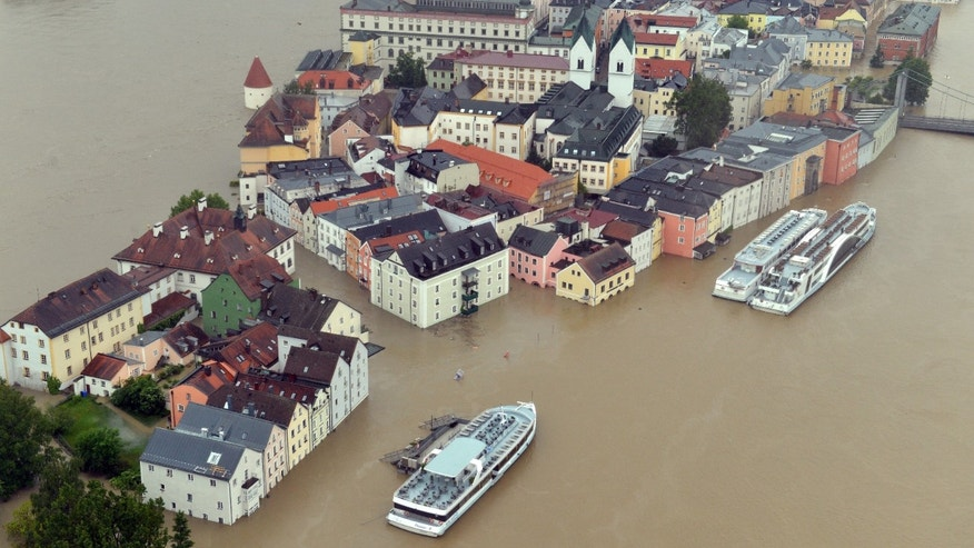 June 3,  2013 - Aerial view of flooding in Passau, Germany. Heavy rainfalls cause flooding along rivers and lakes in Germany, Austria, Switzerland and the Czech Republic.
