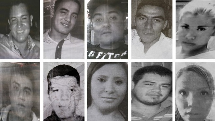 Photo composite of images showing ten of the twelve people kidnapped in broad daylight from an after hours bar in Mexico City Sunday May 26, 2013.