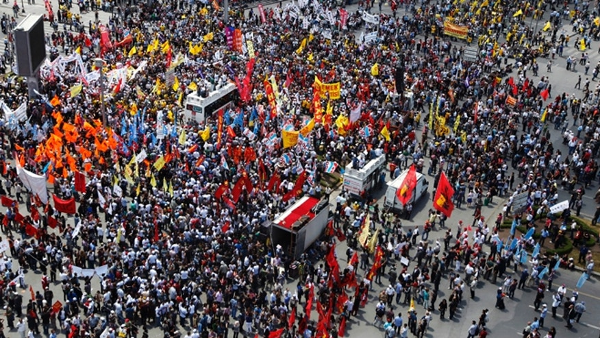 June 5, 2013: Anti-government protesters gather for a rally in Ankara. A Turkish protest group demanded on Wednesday that the government abandon plans to redevelop an Istanbul park and that it sack governors and police chiefs the group holds responsible for violence during days of clashes across Turkey.