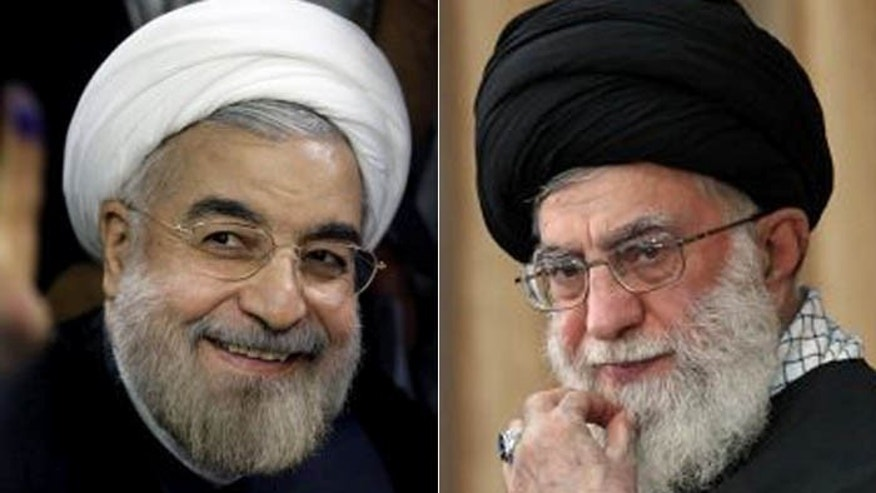 "Iran's so-called ""moderate"" president-elect, Hasan Rowhani, (l.) still must answer to Supreme Leader Ali Khamenei, (r.). (AP)"