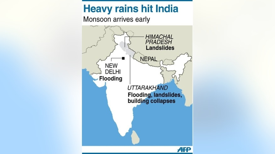 Graphic showing areas in India affected by heavy rains resulting in the deaths of at least 60 people