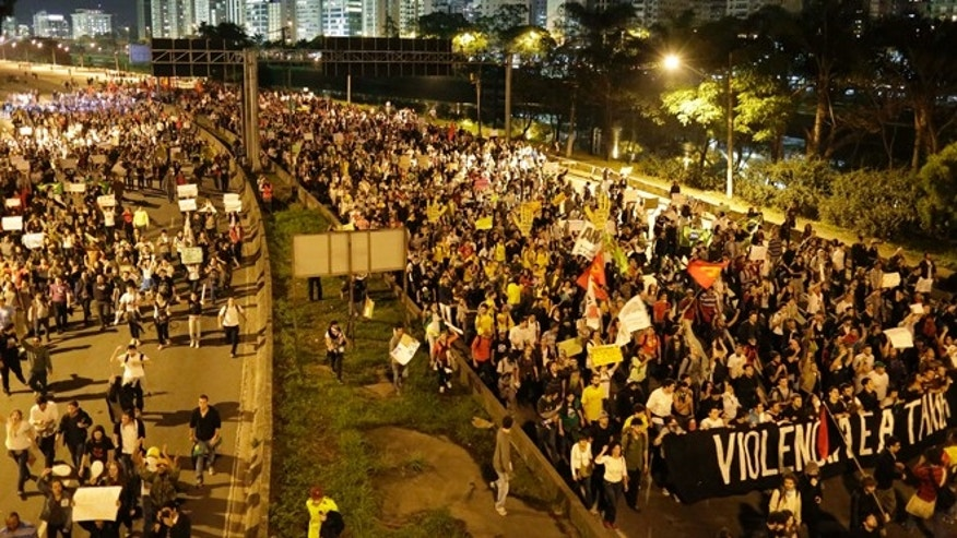 June 17, 2013: Protestors march in Sao Paulo, Brazil. Protesters massed in at least seven Brazilian cities Monday for another round of demonstrations voicing disgruntlement about life in the country, raising questions about security during big events like the current Confederations Cup and a papal visit next month.