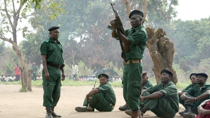 Former Renamo fighters receive military training in Gorongosa mountains, Mozambique. Mozambique's government on Tuesday blamed opposition party Renamo for an attack a day earlier on a military arms depot that killed at least five soldiers amid faltering peace talks between the two parties.