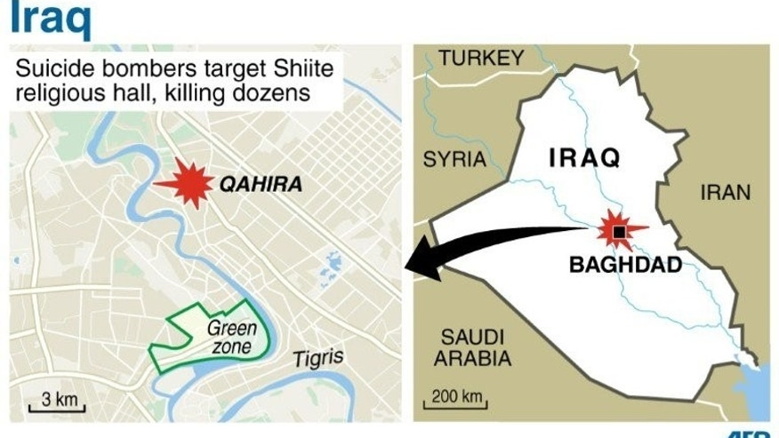 Map locating the Baghdad district of Qahira, where a twin suicide bomb attack killed dozens at a Shiite religious hall. Twin suicide bombings killed 31 people after midday prayers at a Shiite Muslim religious centre in Baghdad, the latest in violence sparking fears of a revival of full-blown sectarian bloodshed.