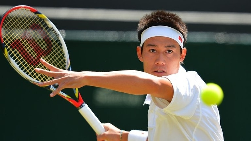 Japan's Kei Nishikori plays a forehand shot during his third round match against Argentina's Juan Martin Del Potro on day six of the 2012 Wimbledon Championships tournament, at the All England Tennis Club, on June 30, 2012. On the men's side, Asia's best hopes of representation in the second week reside with Florida-based Nishikori, this week at a career-high of 11 in the world.