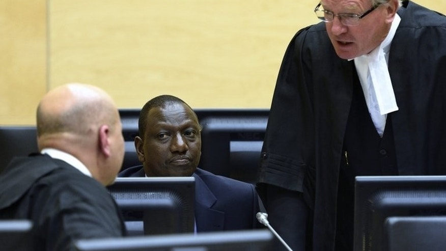 William Ruto (centre) listens to lawyers at a hearing in the International Criminal Court in The Hague last month. The International Criminal Court on Tuesday excused Kenya's Deputy President William Ruto from attending parts of his crimes against humanity trial in September because of demands placed on him in Nairobi.