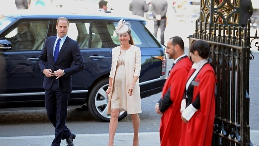 Britain's Prince William (L) and his wife Catherine, Duchess of Cambridge, (2nd L) arrive at Westminster Abbey in London, on June 4, 2013. William and Catherine do not know the sex of their baby, which is expected in mid-July and should be born by natural delivery, palace sources said Wednesday.