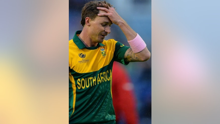 Dale Steyn plays for South Africa in a Champions Trophy game against West Indies in Cardiff last week. Injury keeps the fast bowler out of South Africa's team to play England in a semi-final at the Oval on Wednesday.