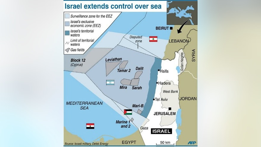 Map locating Israel's offshore exclusive economic zone and gas fields. Israel will retain 540 billion cubic metres of its gas reserves for domestic use out of reserves expected to total 900 bcm, the Globes business website said.