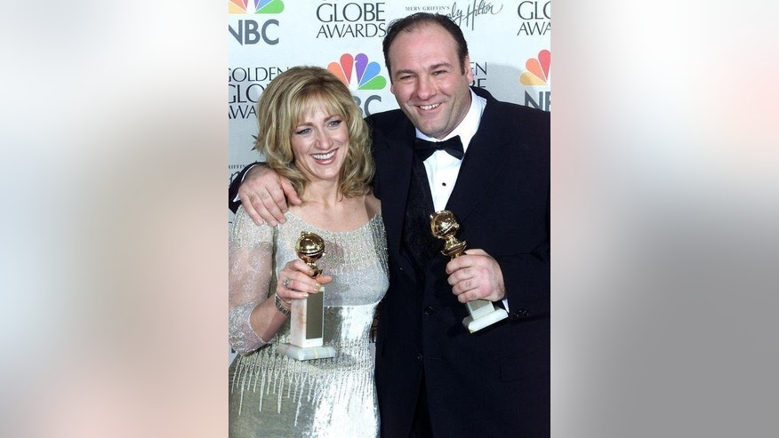 "James Gandolfini (R) and Edie Falco, who played his on-screen wife in ""The Sopranos"", pose with their Golden Globe Awards in Beverly Hills on January 23, 2000. Gandolfini died of a heart attack in Rome despite medics battling for 20 minutes to save him, an Italian doctor said, as tributes pour in for the award-winning US actor."