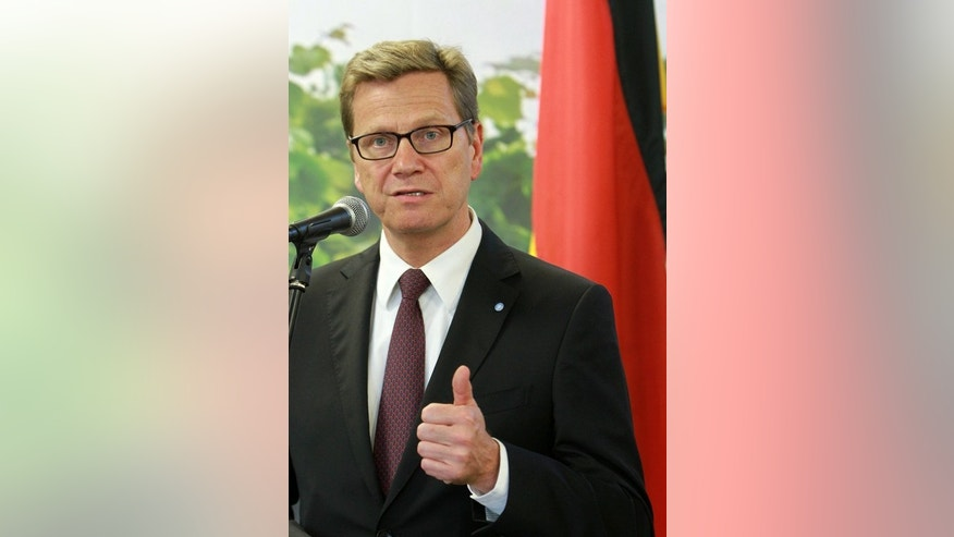 Germany's Foreign Minister Guido Westerwelle speaks at a press conference in Kaunas, Lithuania on June 21, 2013. Amid a sharp spike in tensions between Turkey and the EU, Berlin and Ankara have summoned each other's ambassadors in tit-for-tat moves as fresh obstacles to the Turkish bid to join the bloc emerge.