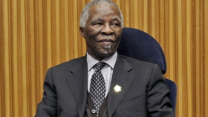 Former South African President and African Union mediator in the Sudan/South Sudan talks Thabo Mbeki pictured in Addis Ababa before the start a high-level security meeting, January 25, 2013. Anti-apartheid icon Nelson Mandela is improving in hospital as he fights a recurrent lung infection and is not 'going to die tomorrow,' Mbeki has said.