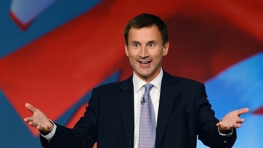 "Britain's Health Secretary Jeremy Hunt pictured at the Conservative Party Conference in Birmingham on October 9, 2012. Hunt on Friday described the CQC health and social care watchdog's alleged suppression of a report into its own failings as ""utterly shocking"" and said that the way the regulator was set up in 2009 had been ""a big mistake""."