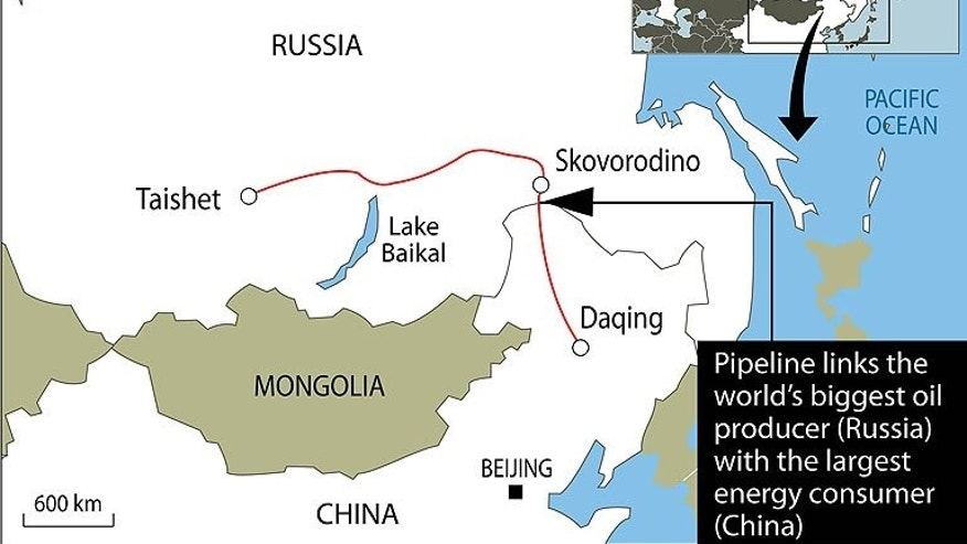 Map showing the Russia-China oil pipeline. Russian oil giant Rosneft and Chinese state firm CNPC have signed a $270 billion deal to supply China with oil over 25 years, an agreement hailed by Russian President Vladimir Putin as marking a new era of energy cooperation.