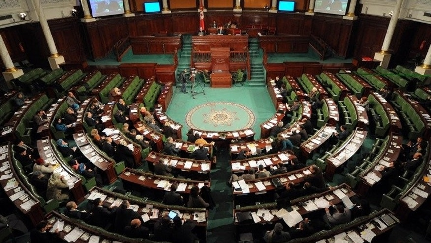 A general view shows the plenary session of the National Constituent Assembly (ANC) on February 14, 2013 in Tunis. Tunisia's parliament will next month debate the draft new constitution, which has been at the centre of a political tussle and taken far longer to finalise than originally planned, parliamentary sources said Friday.