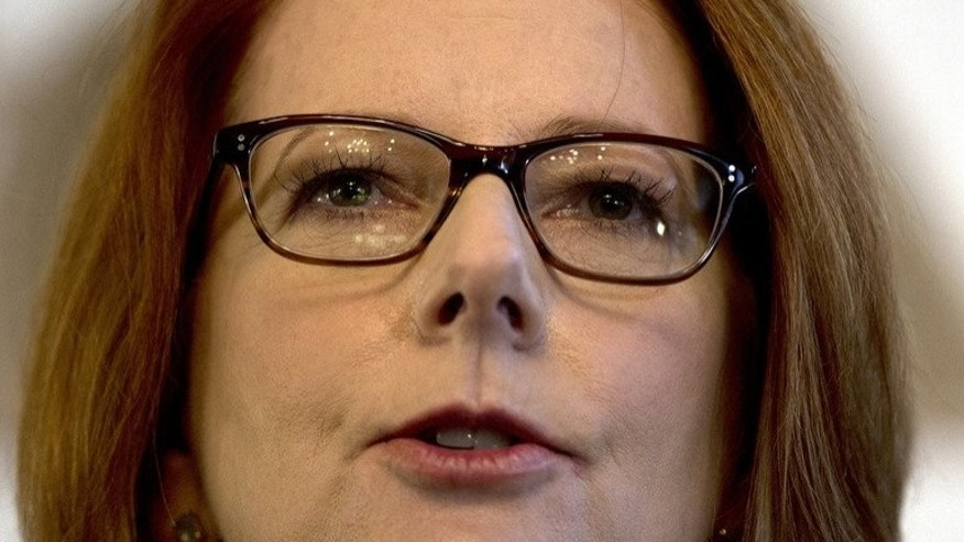 In a file picture taken on April 4, 2013, Australia's Prime Minister Julia Gillard speaks to the Foreign Correspondents' Association in Sydney. Her government asked the Human Rights Commission to launch an inquiry into the treatment of women in the workplace, marking a return to the vexed issue of gender equality.