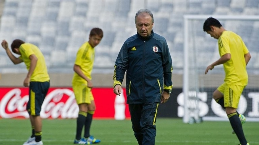 Japan's coach Alberto Zaccheroni during a training session n Belo Horizonte on June 21, 2013. Zaccheroni said after the loss to the Italians after Surrendering a 2-0 lead that he could take some positives.