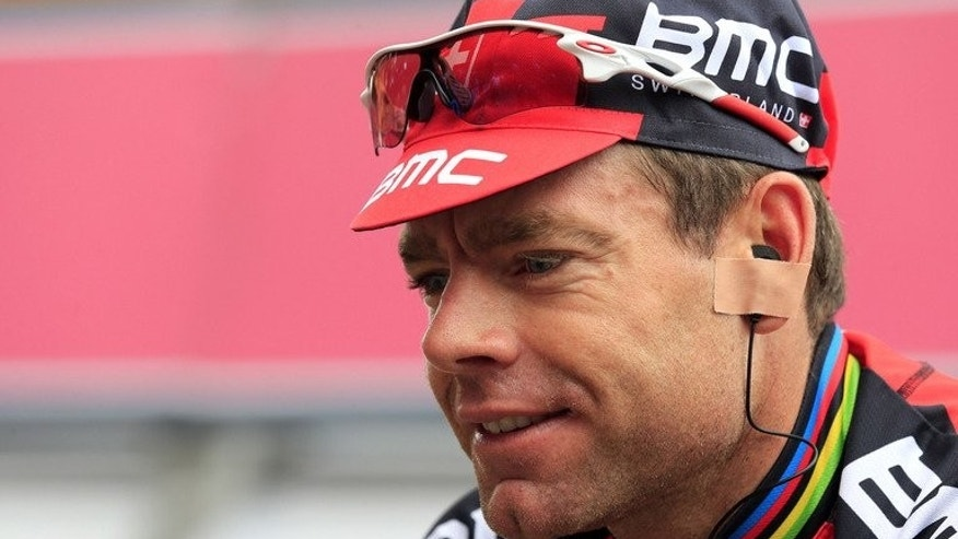 Australian Cadel Evans gets ready before the 13th stage of 96th Giro d'Italia on May 17, 2013 in Busseto. Evans will have six of the team that helped him win the 2011 Tour de France alongside him when he tries to regain his crown when the race starts next Saturday in Corsica.