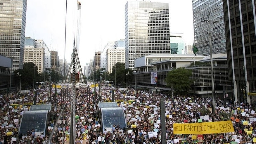 Students march during a protest on Paulista Avenue in Sao Paulo, Brazil on June 22, 2013.