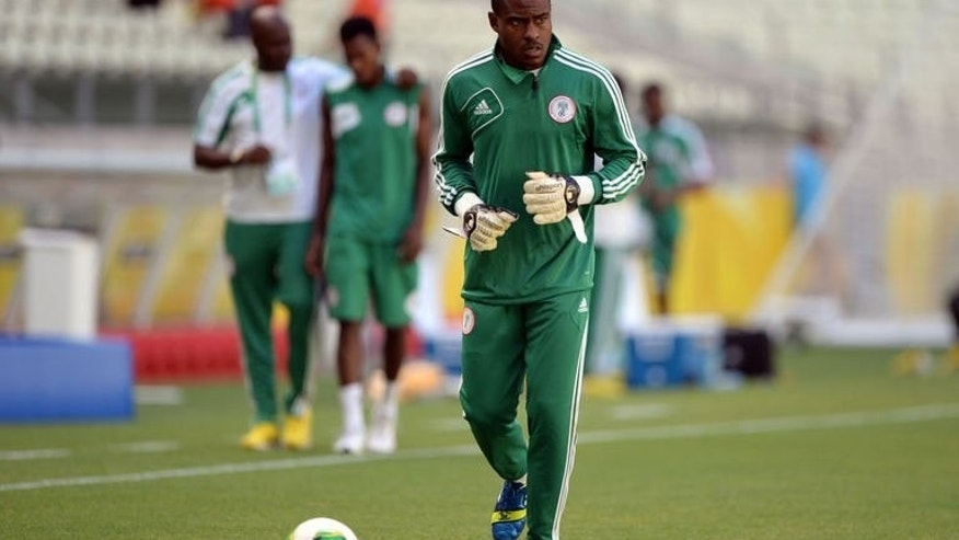 Nigeria's goalkeeper Vincent Enyeama jogs during a training session in Fortaleza on June 22, 2013. Enyeama said on Saturday that his side will take to the field with no fear when they tackle world and European champions Spain in their make-or-break match at the Confederations Cup.