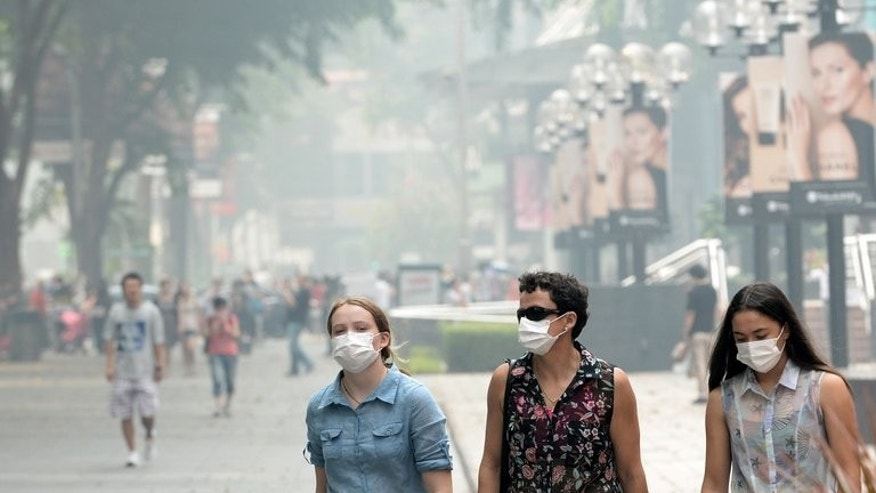 People wear face masks in Singapore on June 22, 2013. Fires on Indonesia's Sumatra, which have cloaked Singapore in record-breaking smog, are raging on palm oil plantations owned by Indonesian, Malaysian and Singaporean companies, environmental activist group Greenpeace International said.