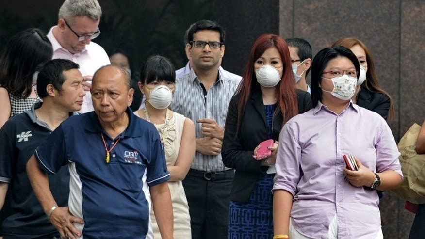 "People wear face masks in Singapore on June 20, 2013 as the city-state is enveloped by smog caused by Indonesia forest fires. African palm oil producers are hitting back at what they say is a ""smear campaign"" against them by environmentalists and health activists that risks ruining their industry."