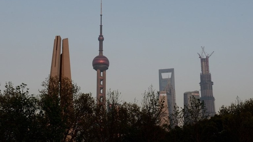 This photo taken on April 15, 2013 shows the skyline of the Pudong financial district of Shanghai. A Chinese man has been arrested for the murder of six people including four colleagues in a killing spree sparked by an argument at a chemical factory in Shanghai, state media said.