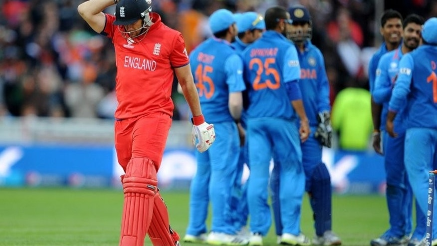 England's Tim Bresnan reacts after being run out during the Champions Trophy final against India on June 23, 2013. England captain Alastair Cook voiced confidence that his side can banish the pain of defeat for their defence of the Ashes.