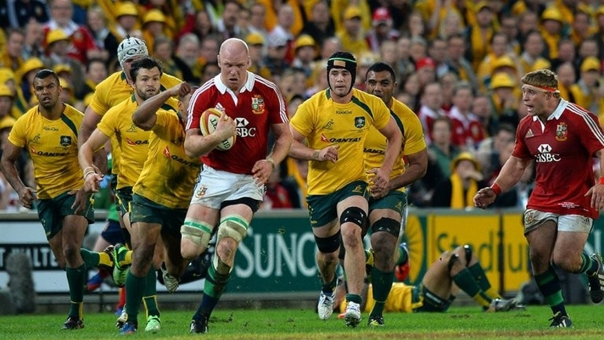 Paul O'Connell of the British and Irish Lions runs at the Australian defence on June 22, 2013. The experienced lock has been ruled out of the Lions tour of Australia with a broken arm.