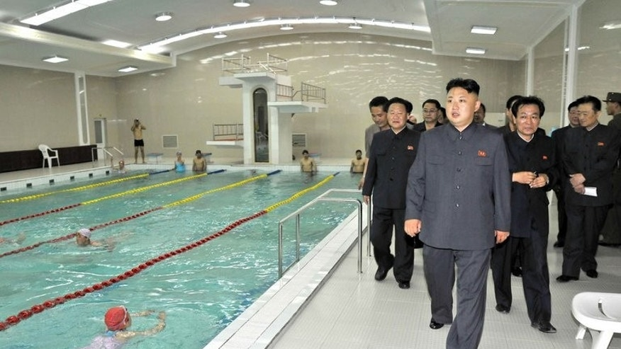 "North Korean leader Kim Jong-Un inspects a swimming pool, in a photo repleased by state media on June 22, 2013. North Korea has blamed the United States for escalating tensions on the Korean peninsula and called for ""real actions"" if Washington wants peace."