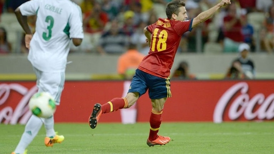 Spain's defender Jordi Alba celebrates after scoring against Nigeria during their FIFA Confederations Cup Brazil 2013 Group B football match, at the Castelao Stadium in Fortaleza on June 23, 2013. Spain won 3-0.