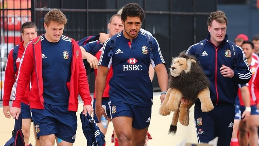 British and Irish Lions (L-R) Jonathan Davies, Manu Tuilagi and Stuart Hogg arrive for training in Brisbane on June 7, 2013. England centre Tuilagi will make his return from injury in the tour game against the Rebels in Melbourne on Tuesday.