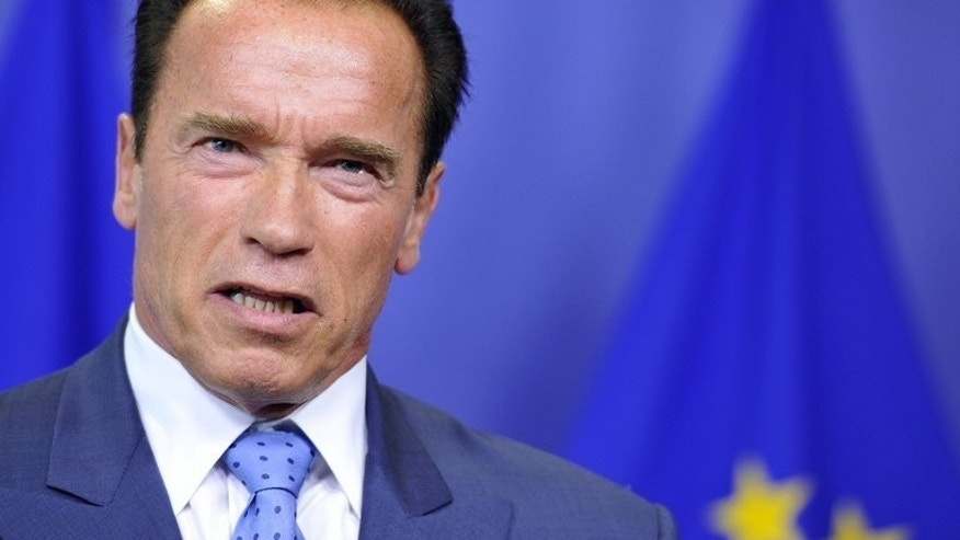 June 24, 2013 - Former Governor of California and founder of the R20 Regions of Climate Change initiative Arnold Schwarzenegger gives a joint press conference with European Commission President Jose Manuel Barroso at EU headquarters in Brussels, on . Schwarzenegger said people should be free to drive big cars and enjoy all-day jacuzzis without feeling guilty about environmental consequences.