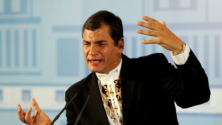 Ecuadorian President Rafael Correa at the Moncloa Palace in Madrid on March 17, 2012. Correa, who has given the United States headaches throughout his tenure, risks more trouble if he grants political asylum to US intelligence leaker Edward Snowden.