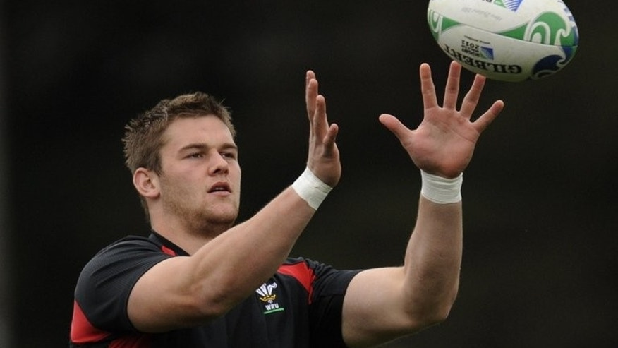 This file photo shows Dan Lydiate attending a training session in Wellington, on September 7, 2011. Welsh back-row forward will lead the British and Irish Lions in their tour match against the Melbourne Rebels on Tuesday following a tour-ending injury to Paul O'Connell.