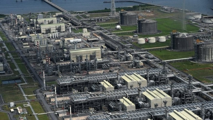 A Nigeria Liquefied Natural Gas (NLNG) plant is pictured at Bonny Island in Rivers State on March 22, 2013. Maritime authorities have halted liquefied natural gas exports from Nigeria due to a dispute over fees and taxes, blocking ships at a facility producing some seven percent of global LNG supply, officials said Monday.
