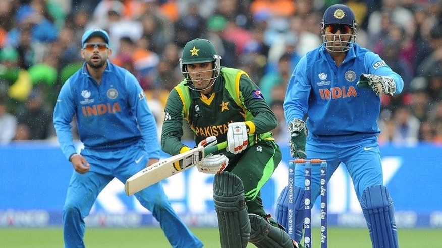 Misbah-ul-Haq (centre) bats for Pakistan against India in a Champions Trophy game at Edgbaston on June 15. Pakistan Monday conceded their next two cricket series will be held at neutral venues, inviting bids to host South Africa and Sri Lanka in the United Arab Emirates.
