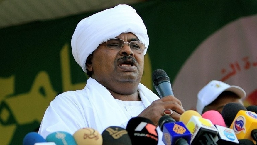 File picture shows Salah Gosh, Sudan's former intelligence chief, giving a speech during a mass wedding in the Sudanese capital Khartoum on November 13, 2010. Gosh has been charged with plotting against the state and could face the death penalty, his lawyer said on Monday as he tries to get the charges withdrawn.