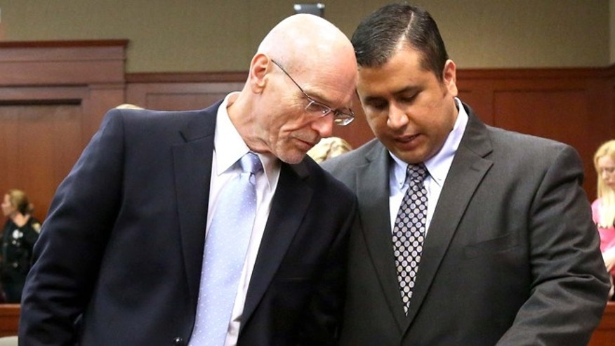 George Zimmerman talks with defense attorney Don West in Seminole circuit court  in Sanford, Fla., Monday, June 24, 2013.