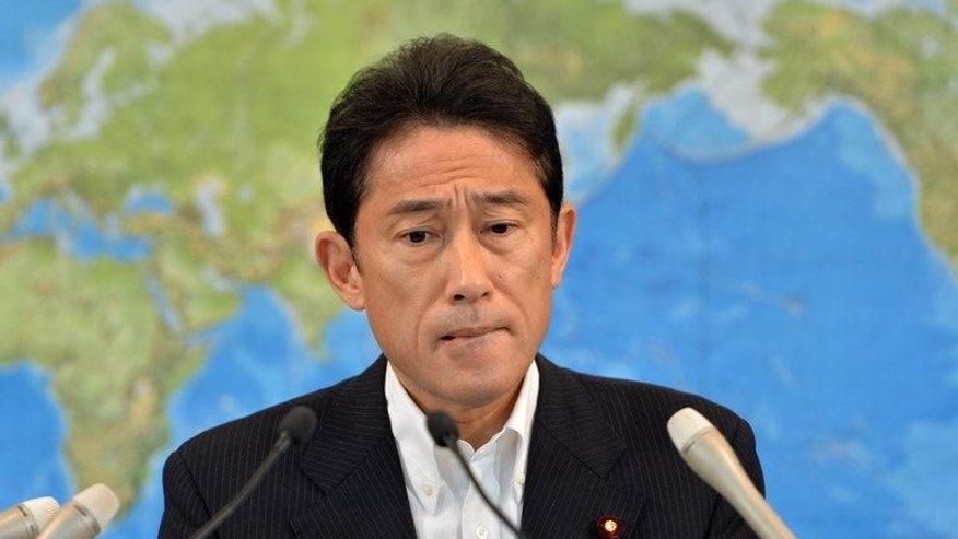 Japanese Foreign Minister Fumio Kishida speaks at a press conference in Tokyo on June 25, 2013. Japan will robustly defend its whaling programme at the UN's top court this week, Kishida said Tuesday, as Sydney and Tokyo ready to do battle over the legality of the hunt.