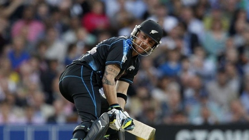 New Zealand's captain Brendon McCullum plays a shot during the first T20 International cricket match between England and New Zealand at The Oval cricket ground in London on June 25, 2013. New Zealand won by five runs to take a 1-0 lead in the two-match series.
