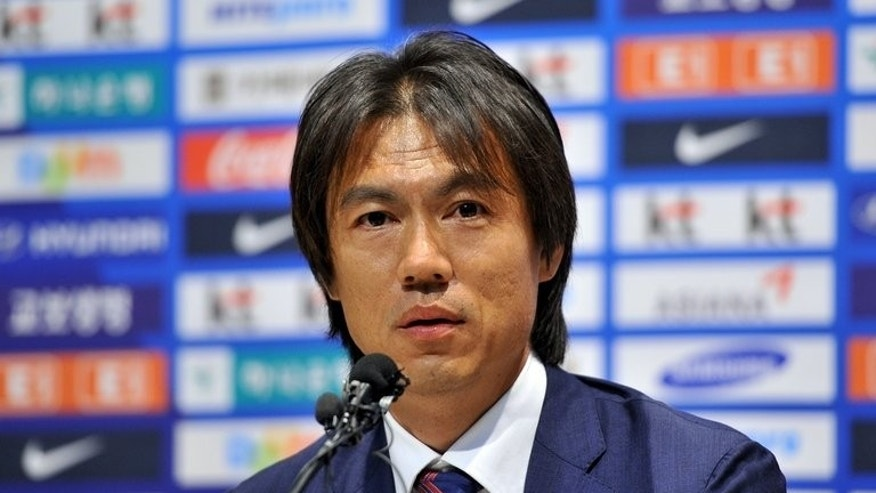 "New South Korean coach Hong Myung-Bo speaks during a press conference in Paju, north of Seoul, on June 25, 2013. He promised Tuesday a new ""Korean style"" of high-energy, pressure football that would give the out-of-form national team an edge at the next year's World Cup in Brazil."