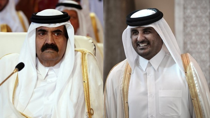 Photo combo of Qatar's emir Hamad bin Khalifa al-Thani (L) and son Sheikh Tamim. Sheikh Hamad has abdicated in favour of his 33-year-old son, in a first for the Arab world.