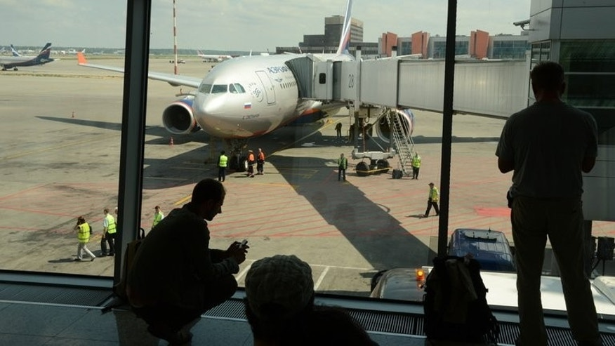 Aeroflot flight SU 150 to Havana, on the stand at Moscow's Sheremetyevo airport on June 24, 2013. US intelligence leaker Edward Snowden was scheduled to occupy a seat to Cuba but never appeared.