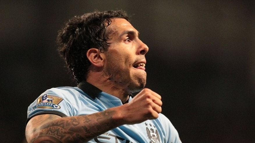 Manchester City's Argentinian striker Carlos Tevez celebrates a goal at the Etihad Stadium in Manchester on April 17, 2013. Tevez looks poised to end his roller coaster stay at English Premier League side Manchester City by joining Italian champions Juventus, the Press Association reported on Tuesday.