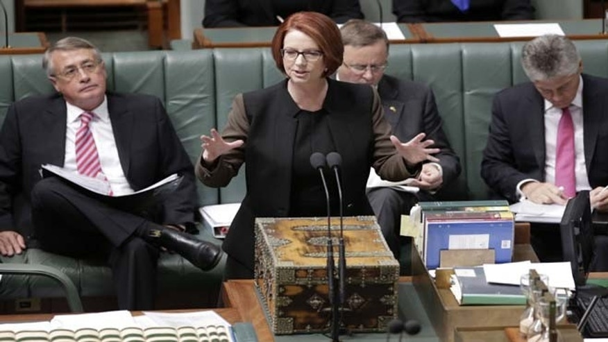 June 26, 2013: Australian Prime Minister Julia Gillard speaks in parliament in Canberra, Australia.