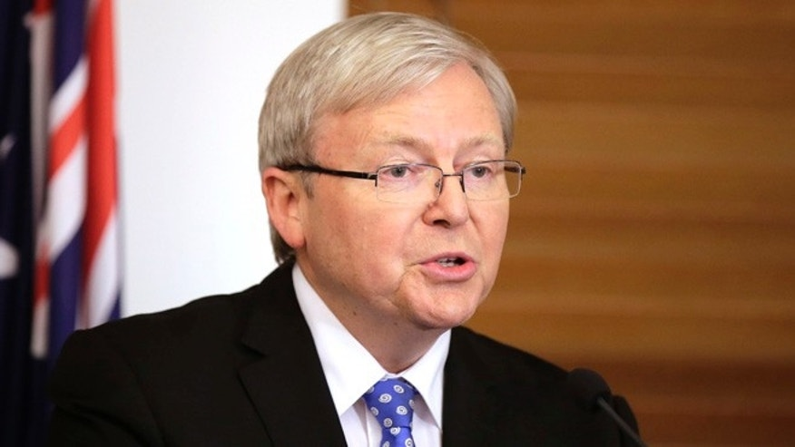"June 26, 2013: Former Australian Prime Minister Kevin Rudd announces that he will contest a leadership ballot of his Labour Party in Canberra, Australia. Prime Minister Julia Gillard threw open her job to an intra-party leadership ballot and the man she ousted three years ago, Rudd, stepped up to challenge her, saying their party will face a ""catastrophic defeat"" without a change at the top."