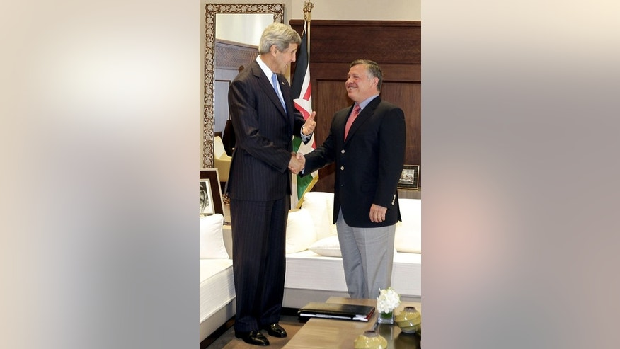 John Kerry (left) meets Jordan's King Abdullah II at the al-Hummar Palace in Amman on Thursday. Kerry's aides have played down expectations of an imminent breakthrough and instead are hoping to make incremental progress to set the stage for substantive negotiations between Israel and the Palestinians.